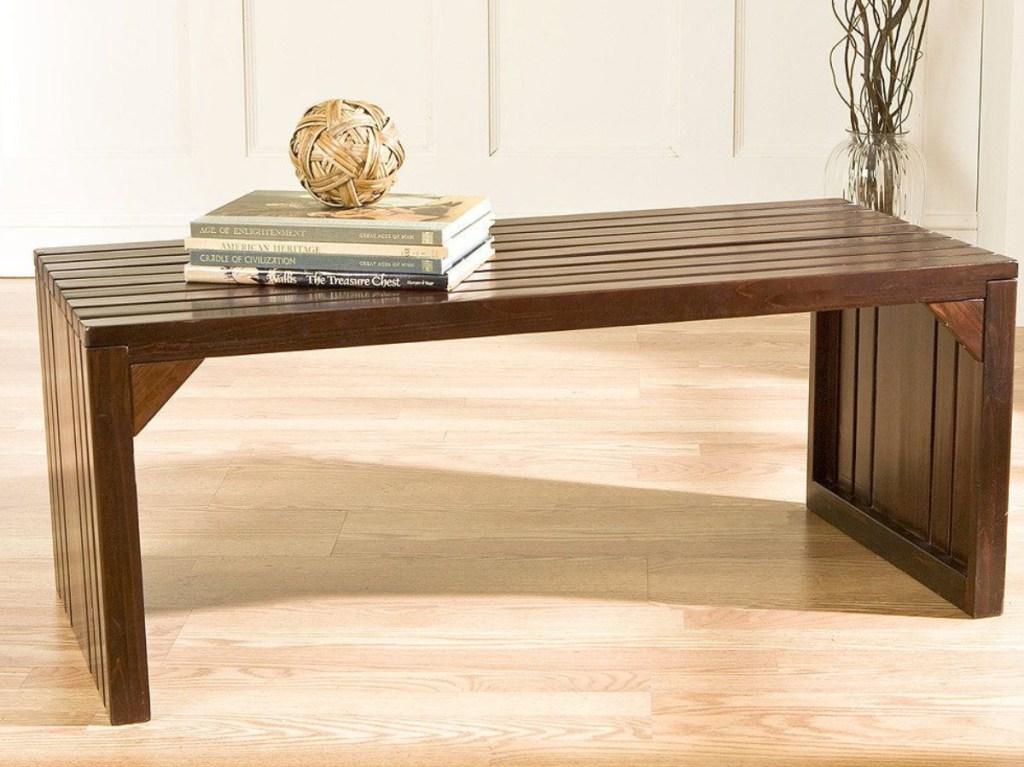 brown work table/bench on floor