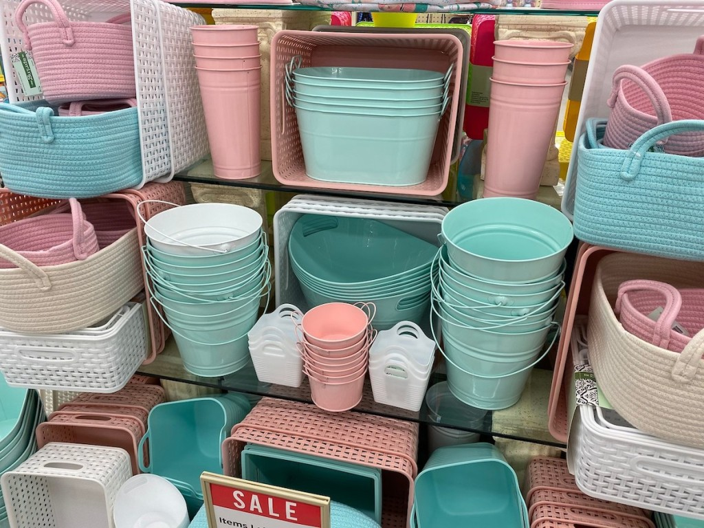 spring color storage containers, buckets, and totes at hobby lobby
