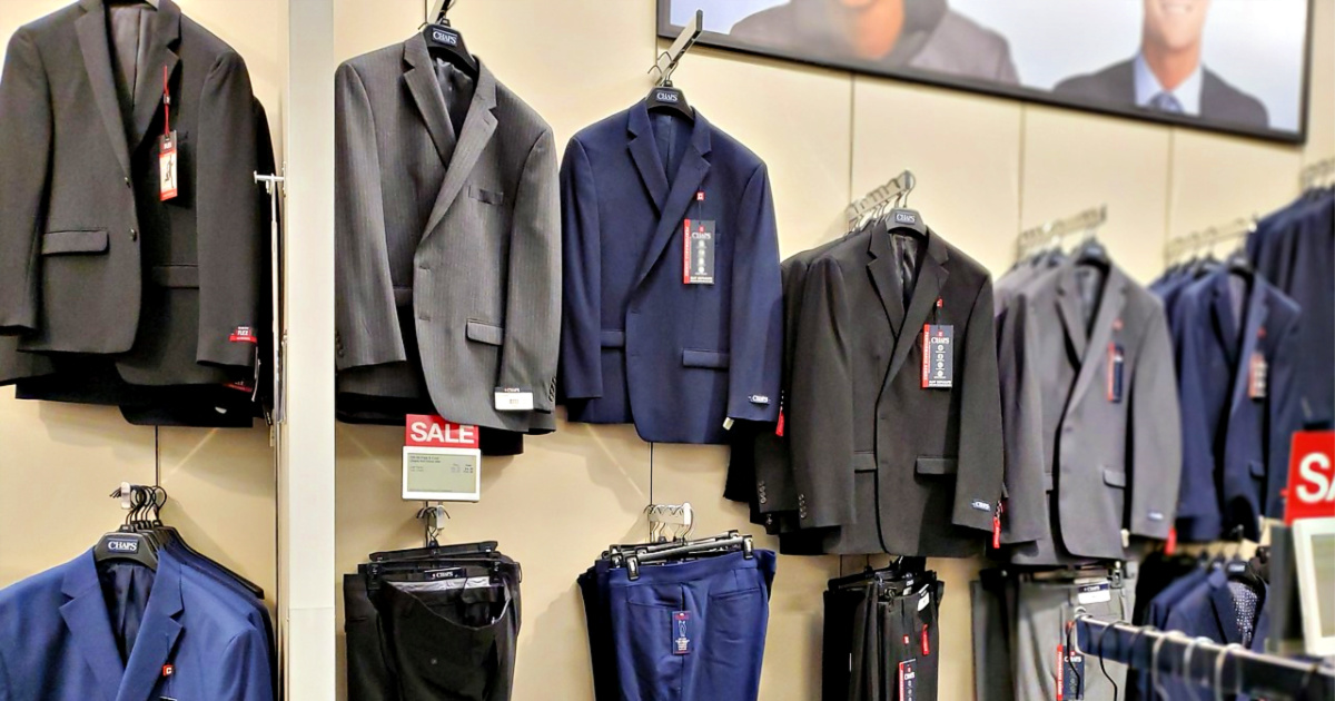 Suits in Kohl's on hangers