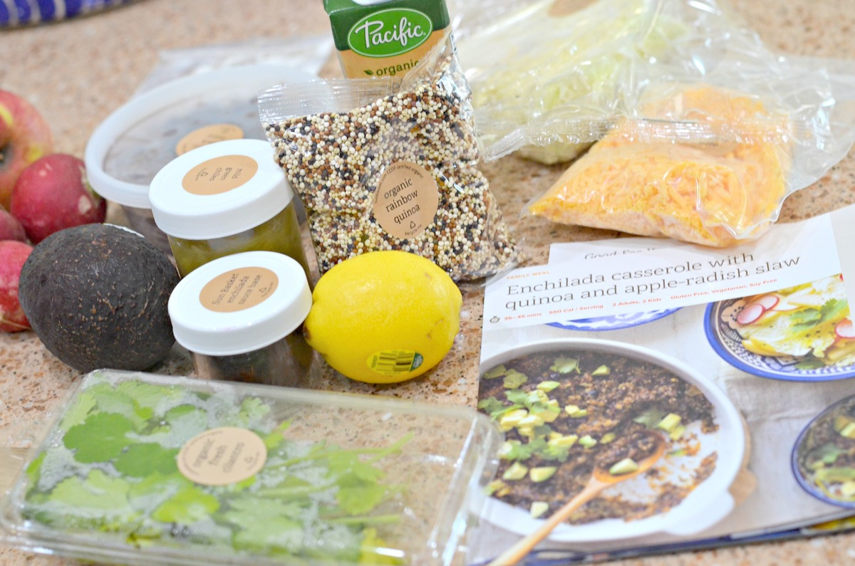 Sun Basket Meal Kit ingredients on countertop
