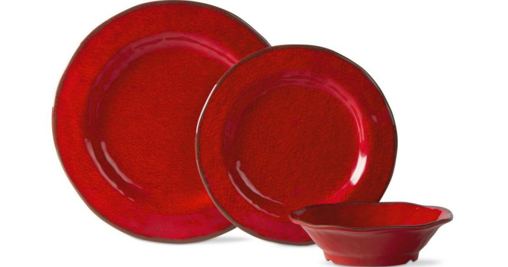 red dinnerware set with plates and bowls