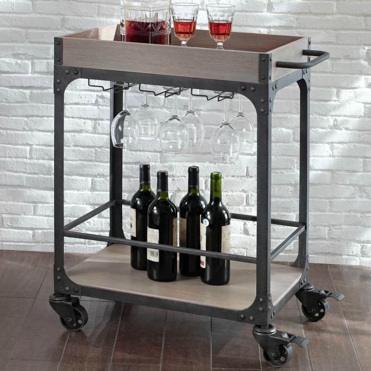 Wood and metal bar card with wine bottles and glasses