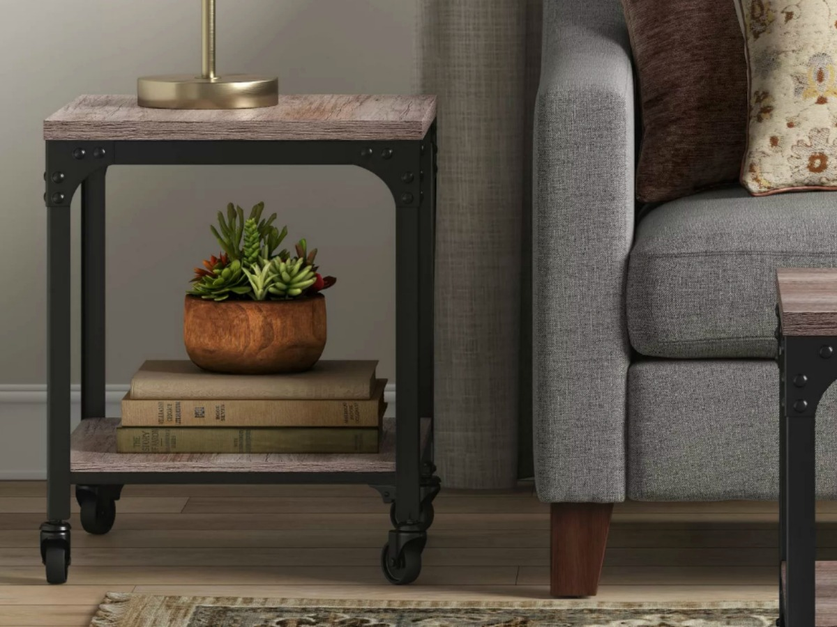 Wood and metal end table with books, lamp and plant