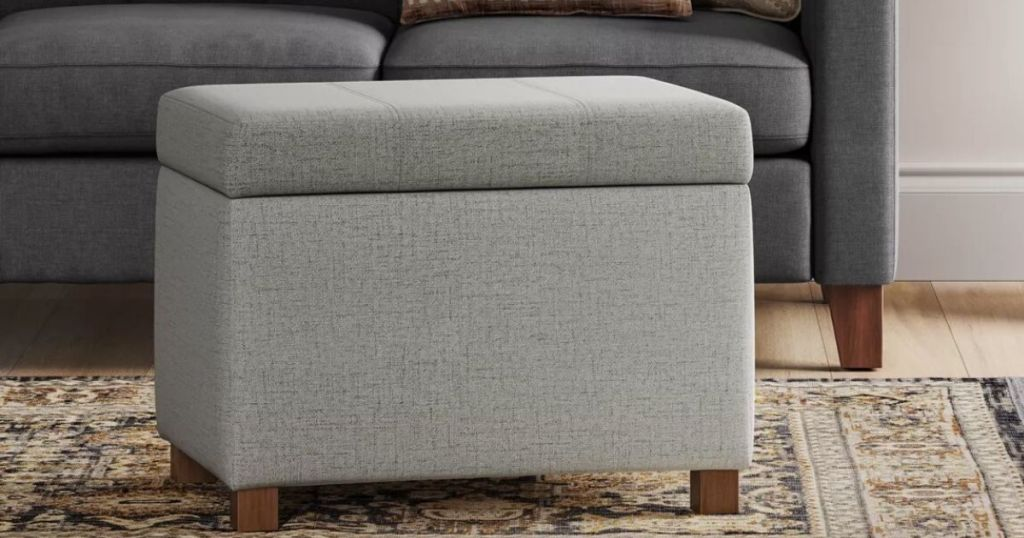 living room with upholstered storage ottoman on run in front of couch