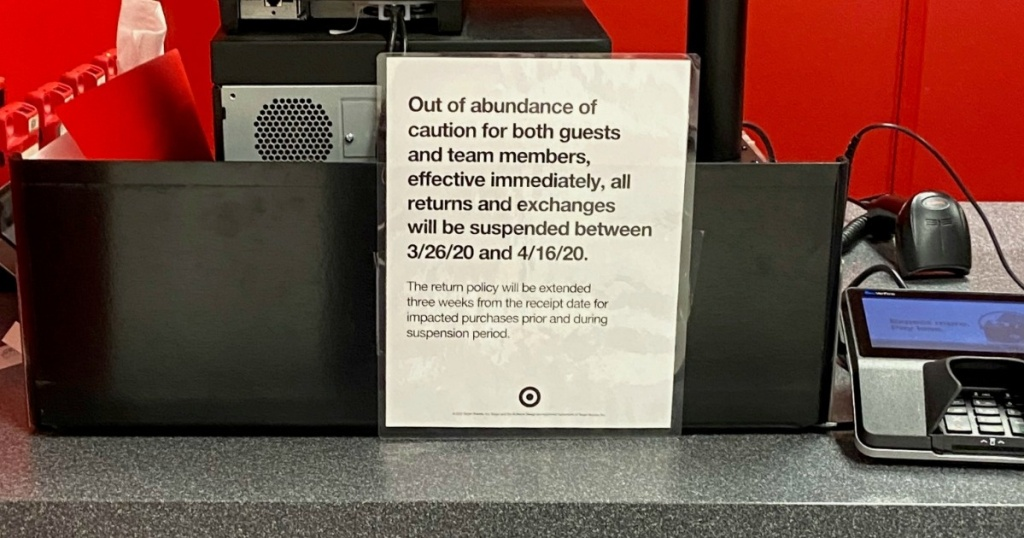 Target sign with temporary return policy