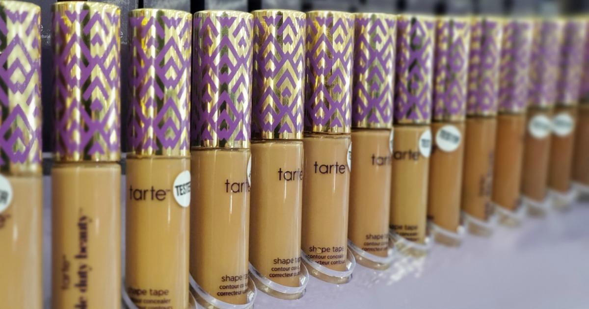 row of Tarte Shape Tape Concealers best make up brands cheap vs luxury