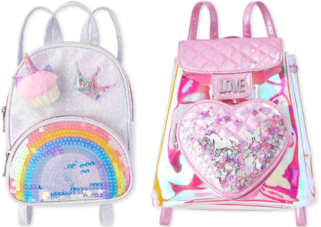 Two styles of girls mini backpacks
