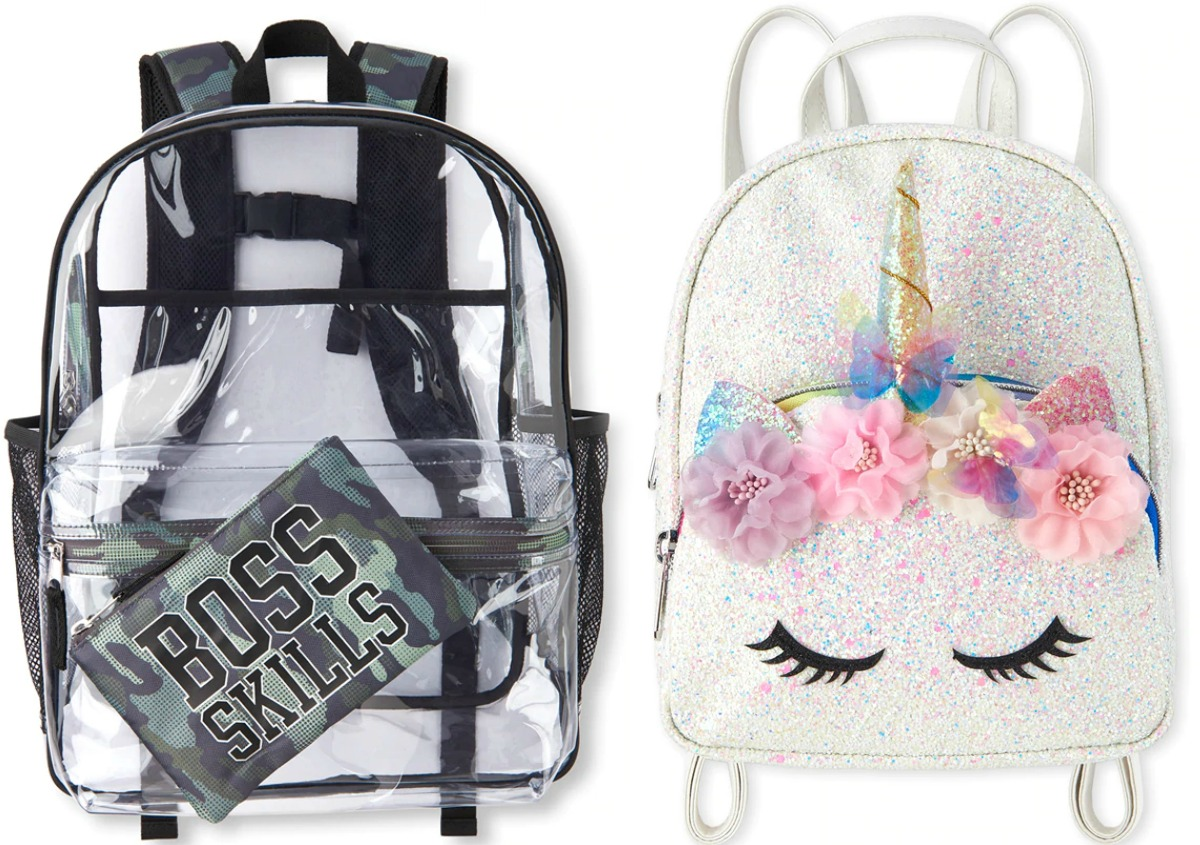 Two styles of kids backpacks
