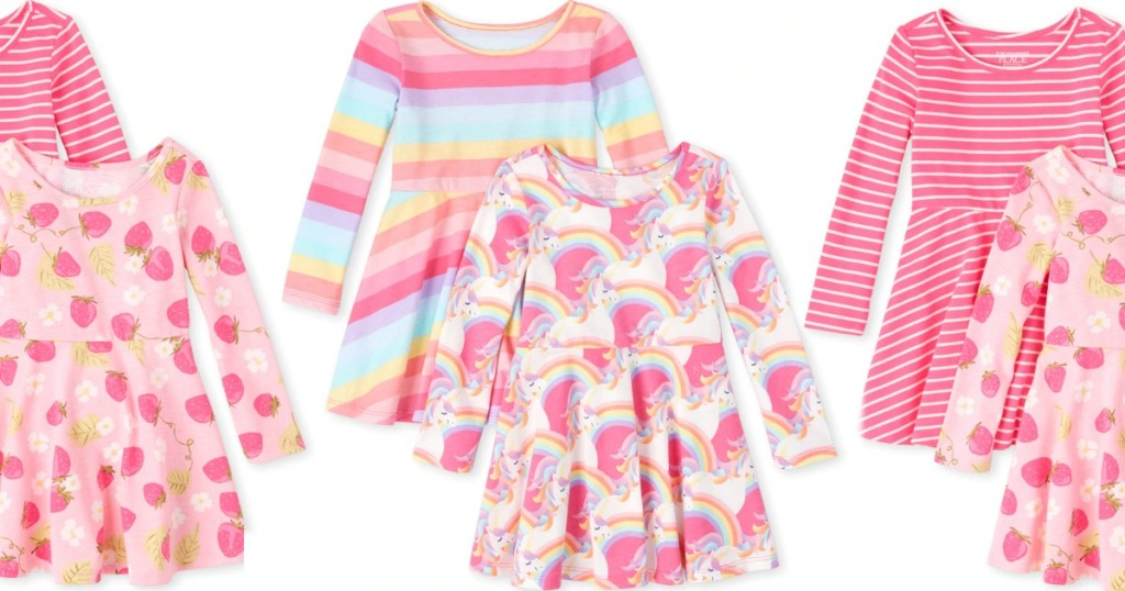pink skater dresses for girls featuring unicorn and strawberry prints