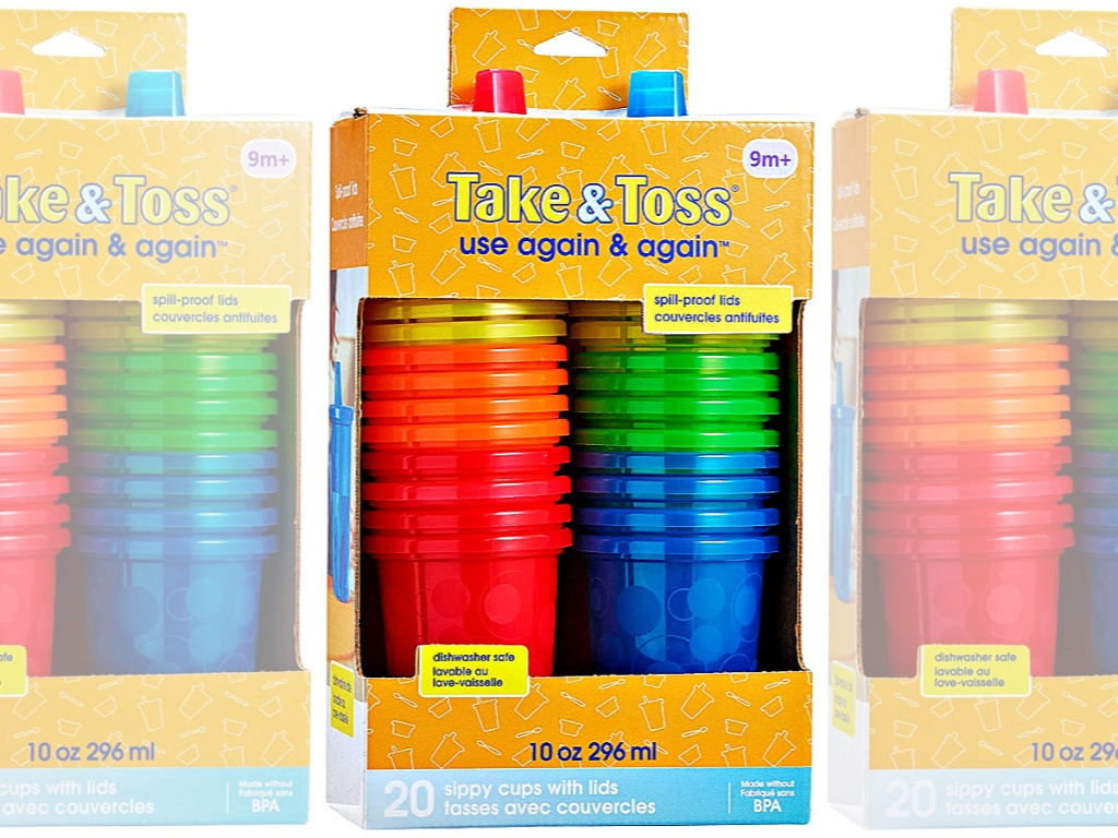 The First Years Take & Toss Spill-Proof 20-Pack Sippy Cups with Lids in box