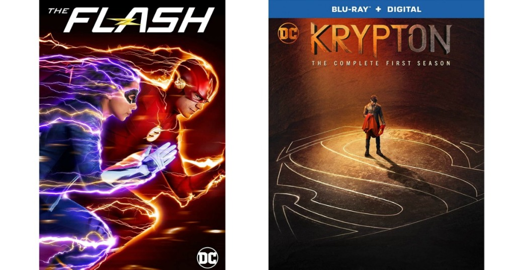 The Flash and Krypton movie covers