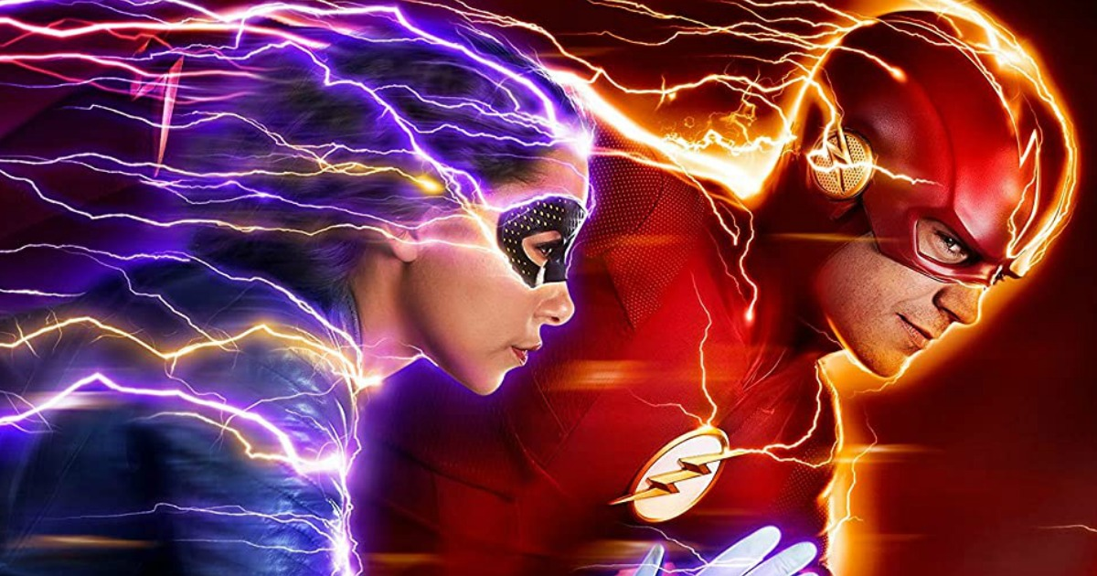 The Flash running next to a girl in purple