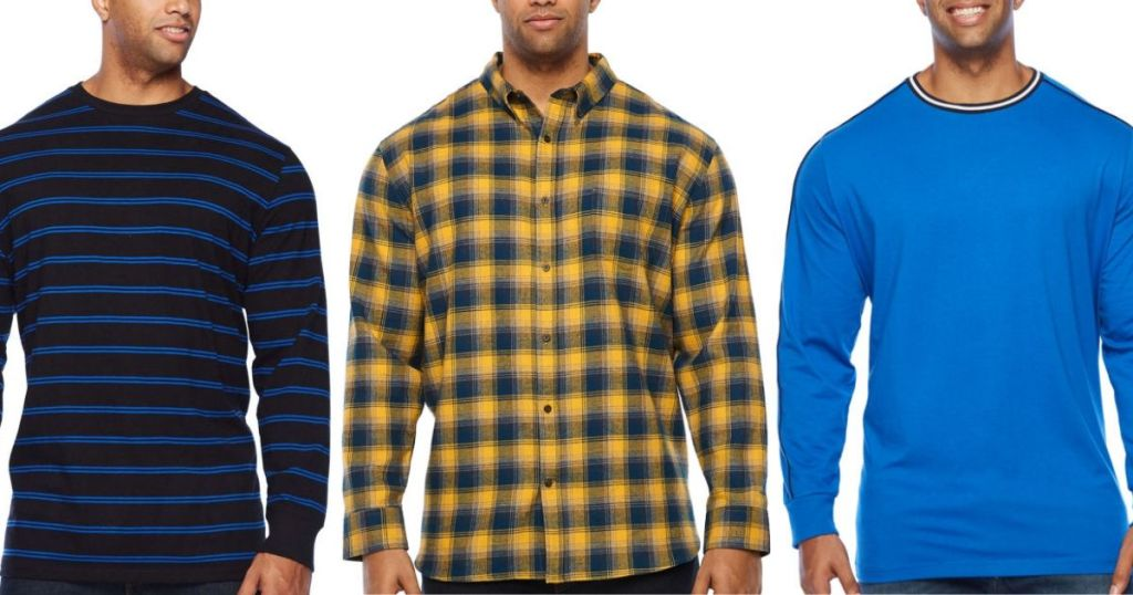 three big & tall men wearing shirts, just showing from wait up to chin