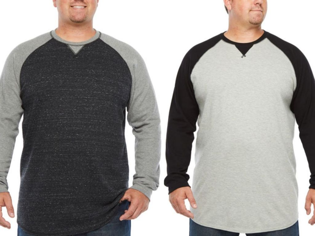 man shown wearing two different color versions of the same baseball style ringer t-shirt