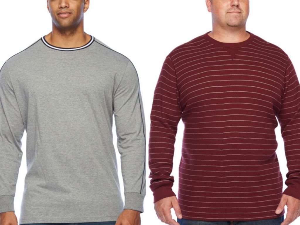 two men wearing long sleeve crewneck shirts shown from neck down