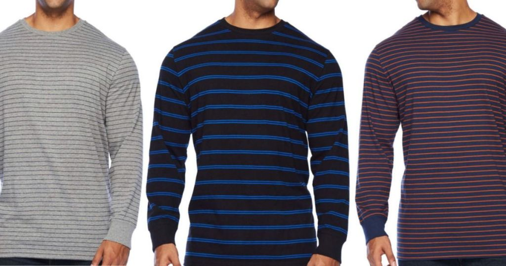 three men's torsos wearing the same long sleeve crew neck shirt in different colors