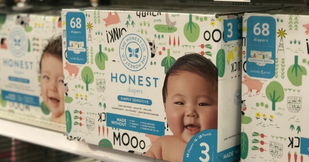The Honest Company Disposable Diapers Boxes on shelf
