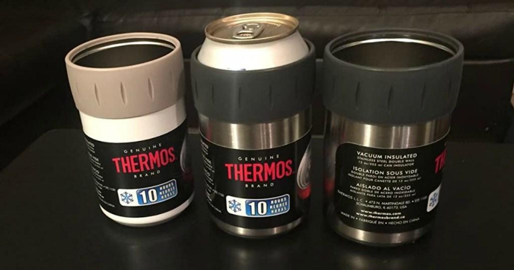 three Thermos can insulators