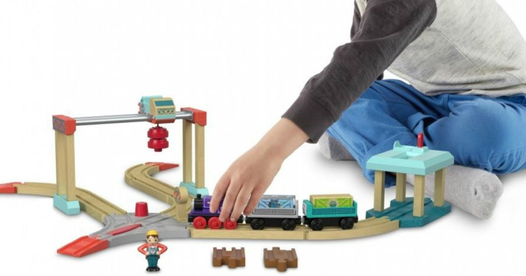Thomas Wooden Train Set and boy