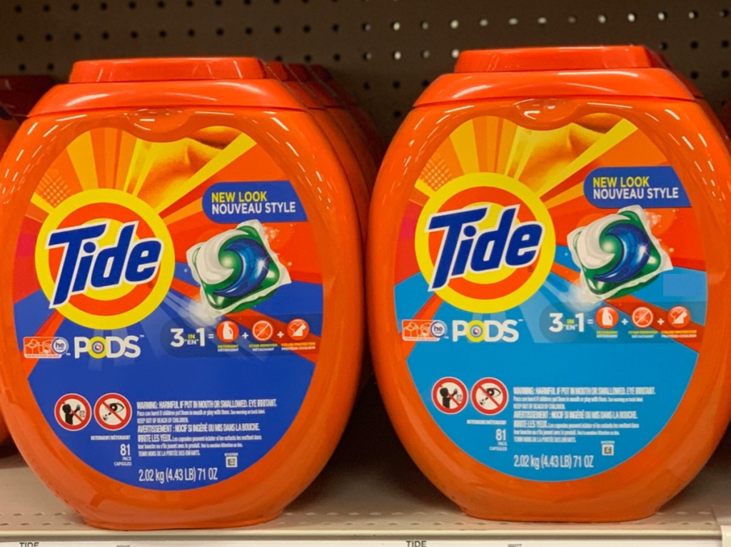 large laundry detergent pac containers on store shelf