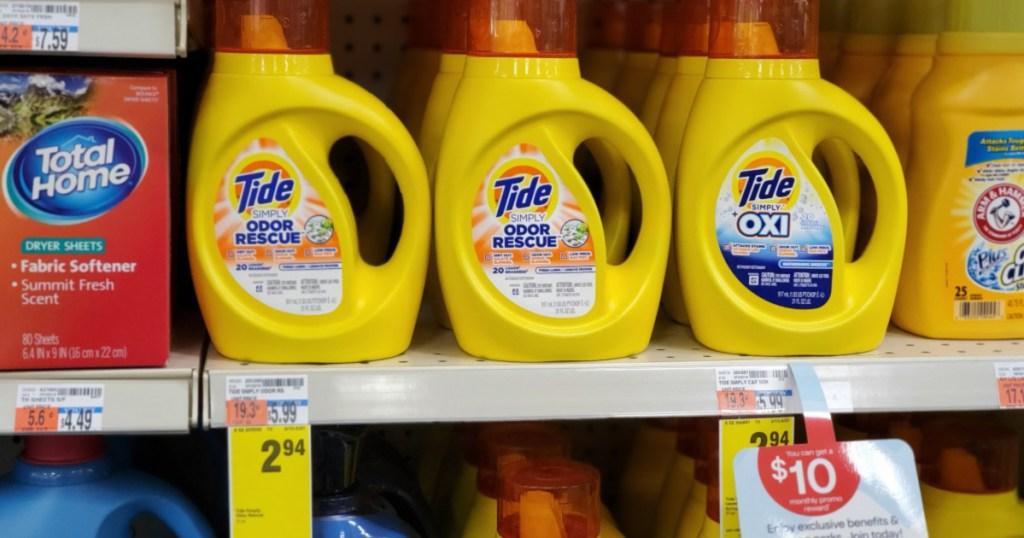 cvs shelf with bottles of Tide Simply Detergent