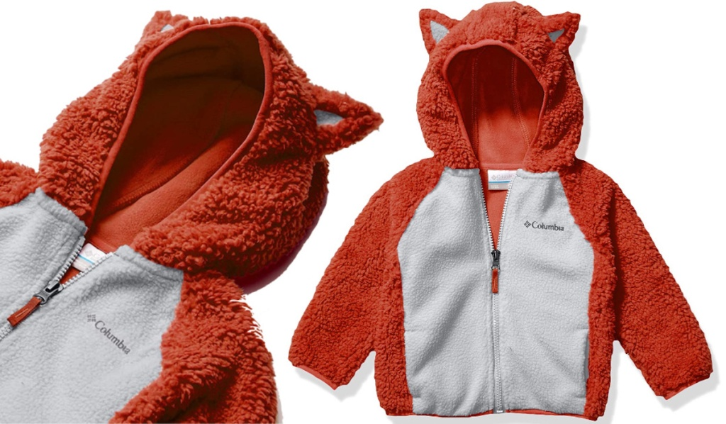 orange and white columbia Toddler Foxy Baby™ Sherpa Jacket