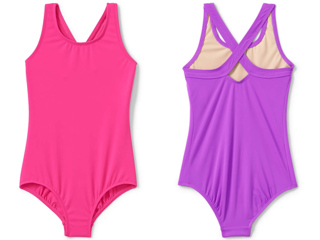pink and purple toddler girls one piece swimsuit