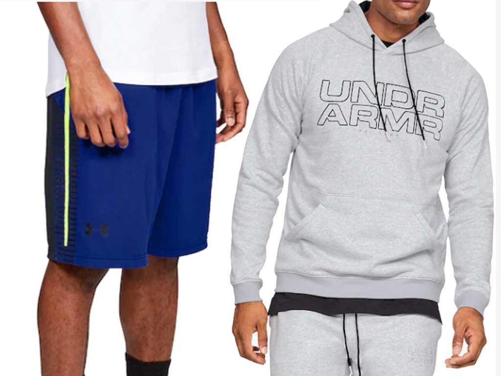 under armour shorts and hoodie