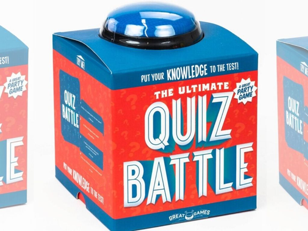 quiz battle game set box with buzzer button on top