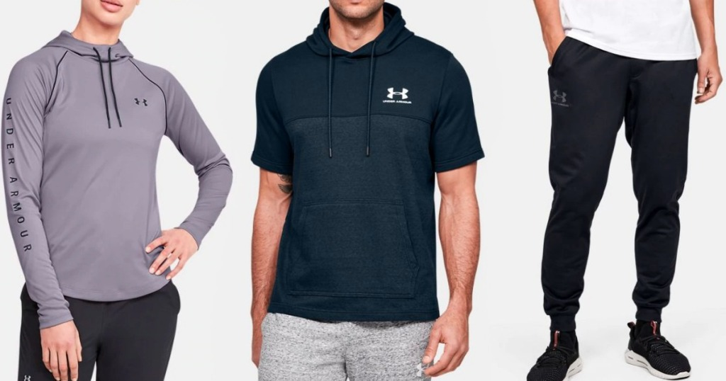 three people wearing Under Armour apparel