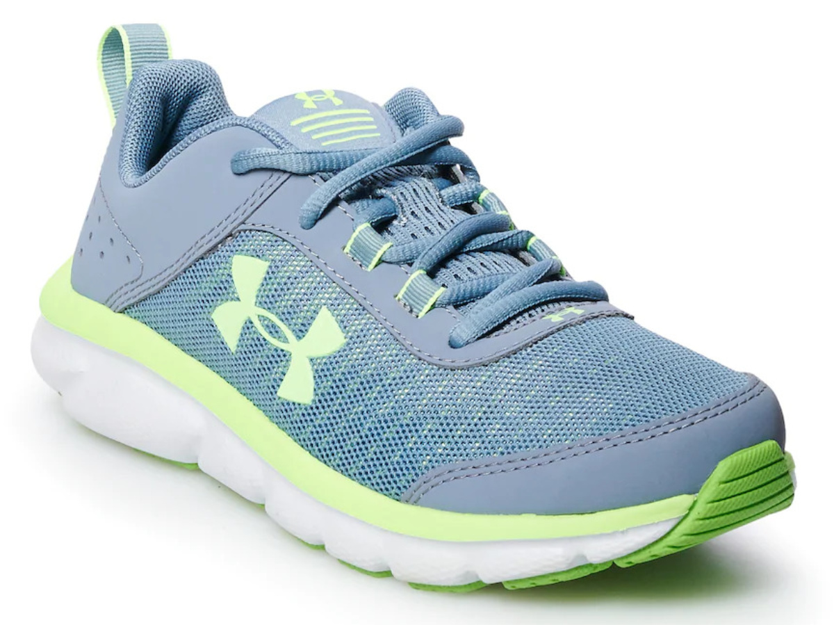 blue kids running shoe
