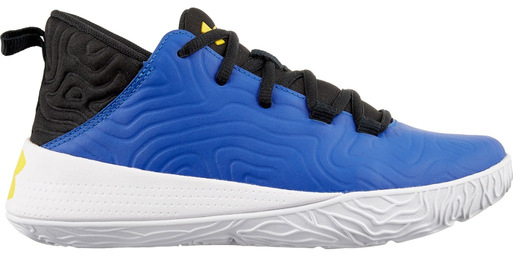 blue and white under Armour shoes