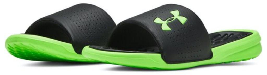 men's black and neon green slide sandals