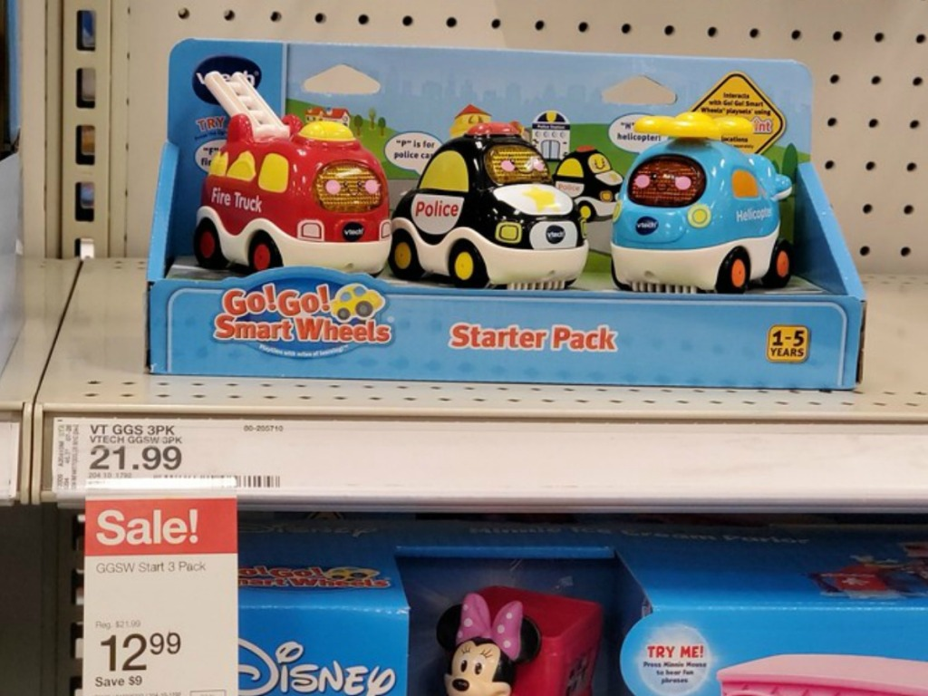 VTECH cars 3 pack on the shelf at Target