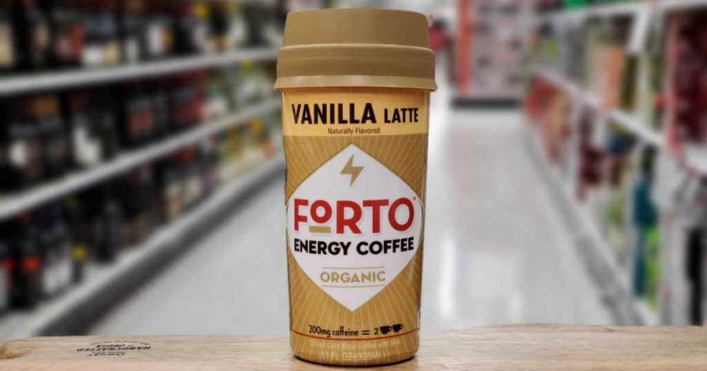 Vanilla Latte Forto Energy Coffee on wooden shelf in Target