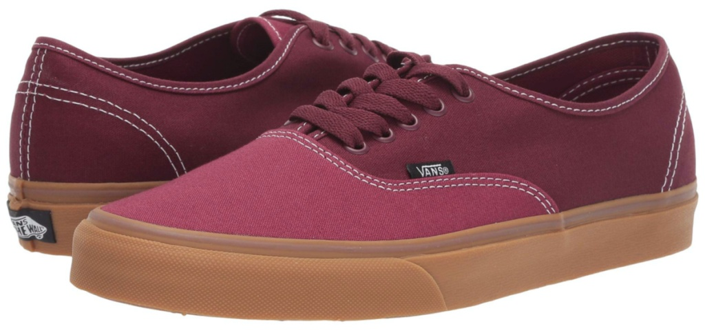 maroon canvas shoes
