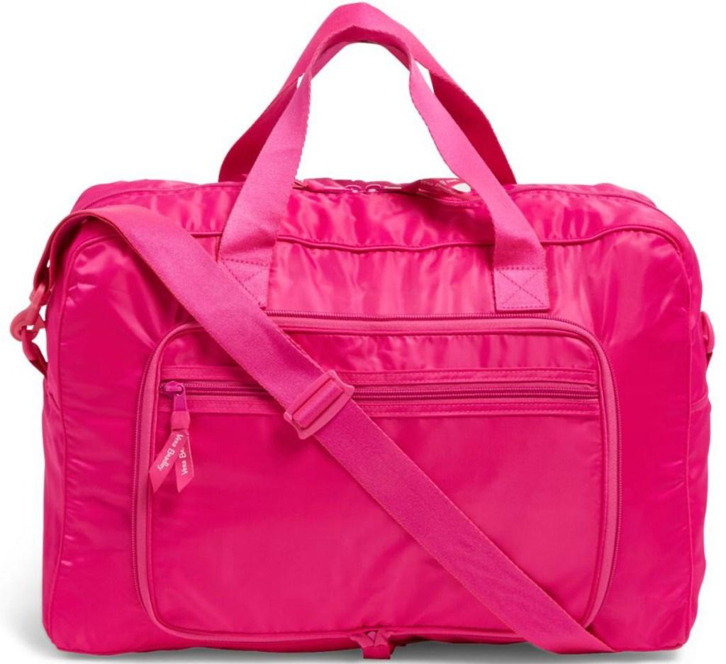 Large pink duffel bag