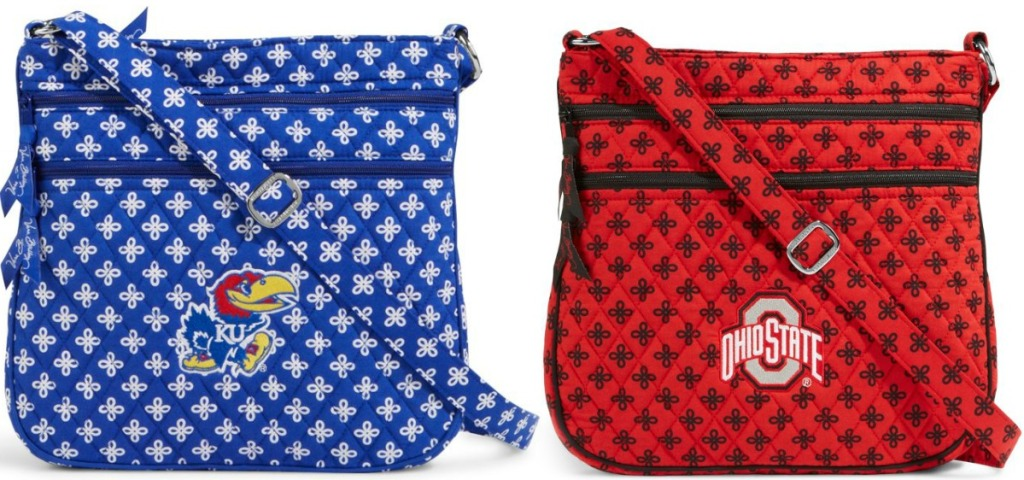 Two styles of college themed women's crossbody bags