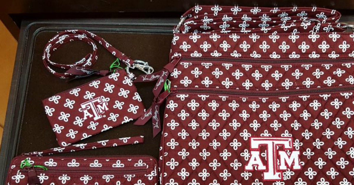 Collegiate themed women's handbags and wallets