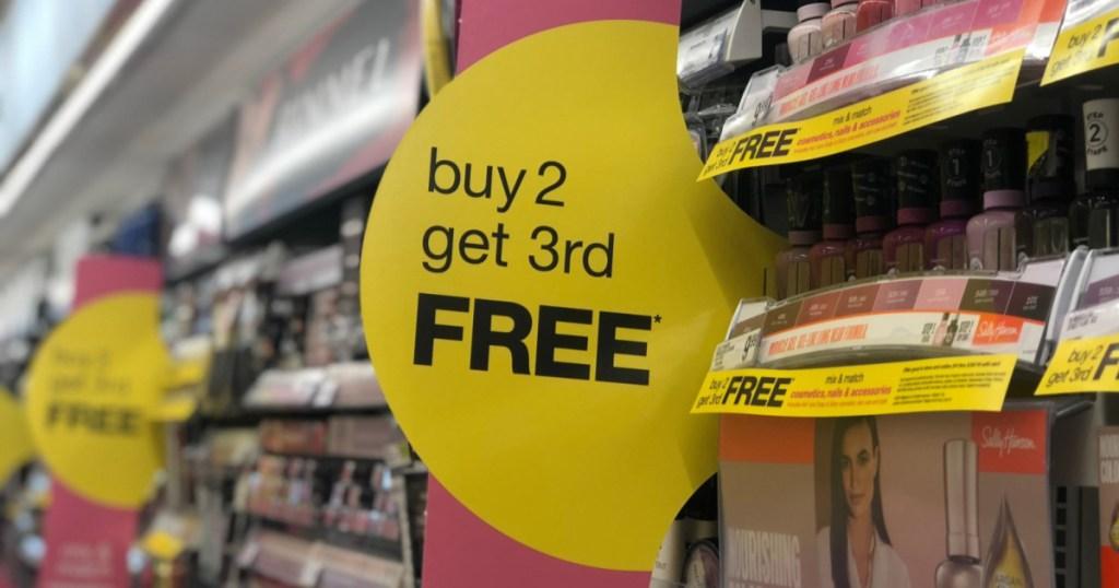 walgreens buy 2 get 3rd free sign with nail polish