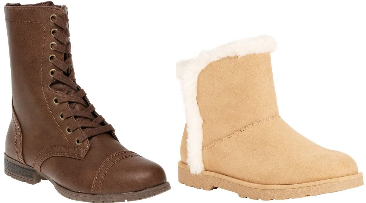 two right foot womens boots one with faux leather and laces and the other are faux fur lined