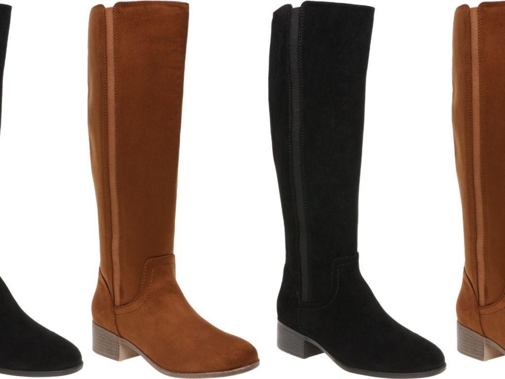 four pairs of knee high faux suede womens boots