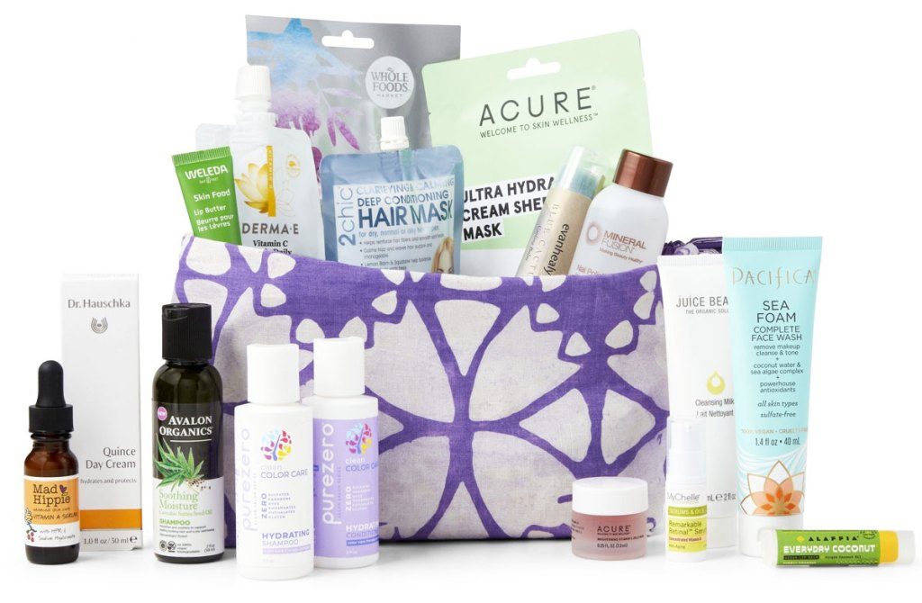 beauty bag filled with samples