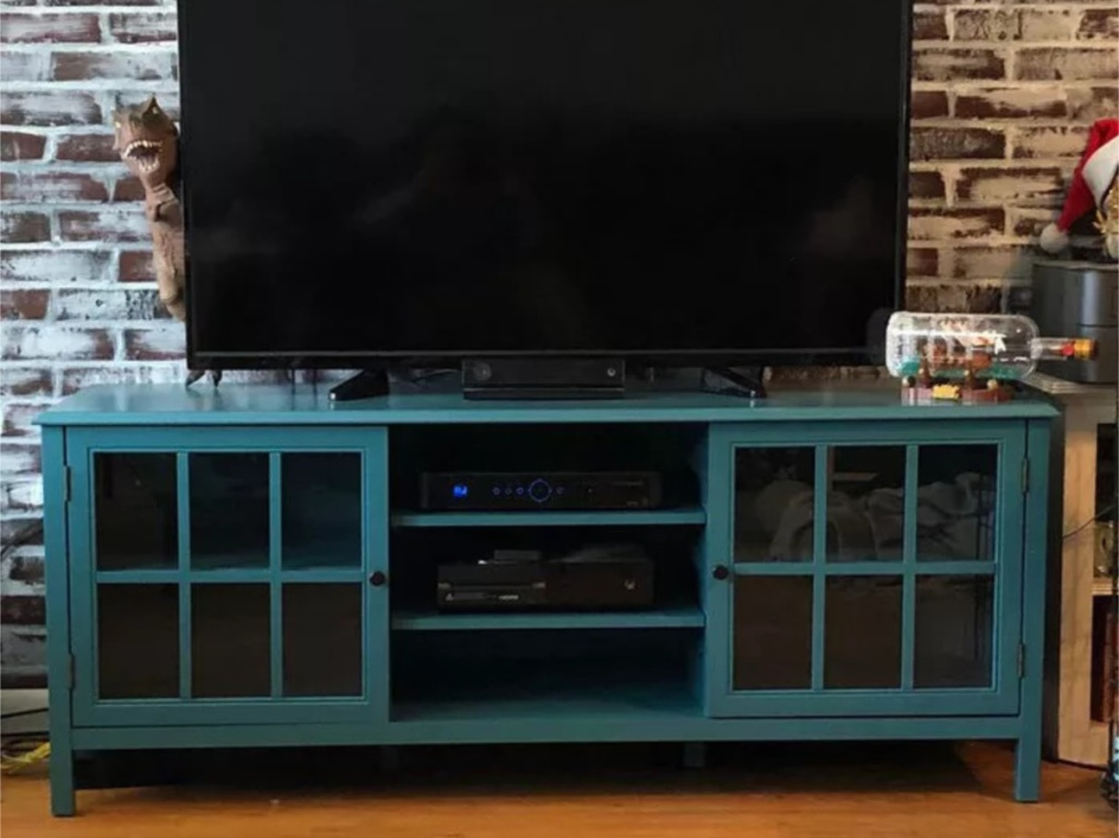 blue large tv stand in living room