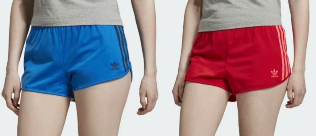 Two women wearing shorts - blue and red