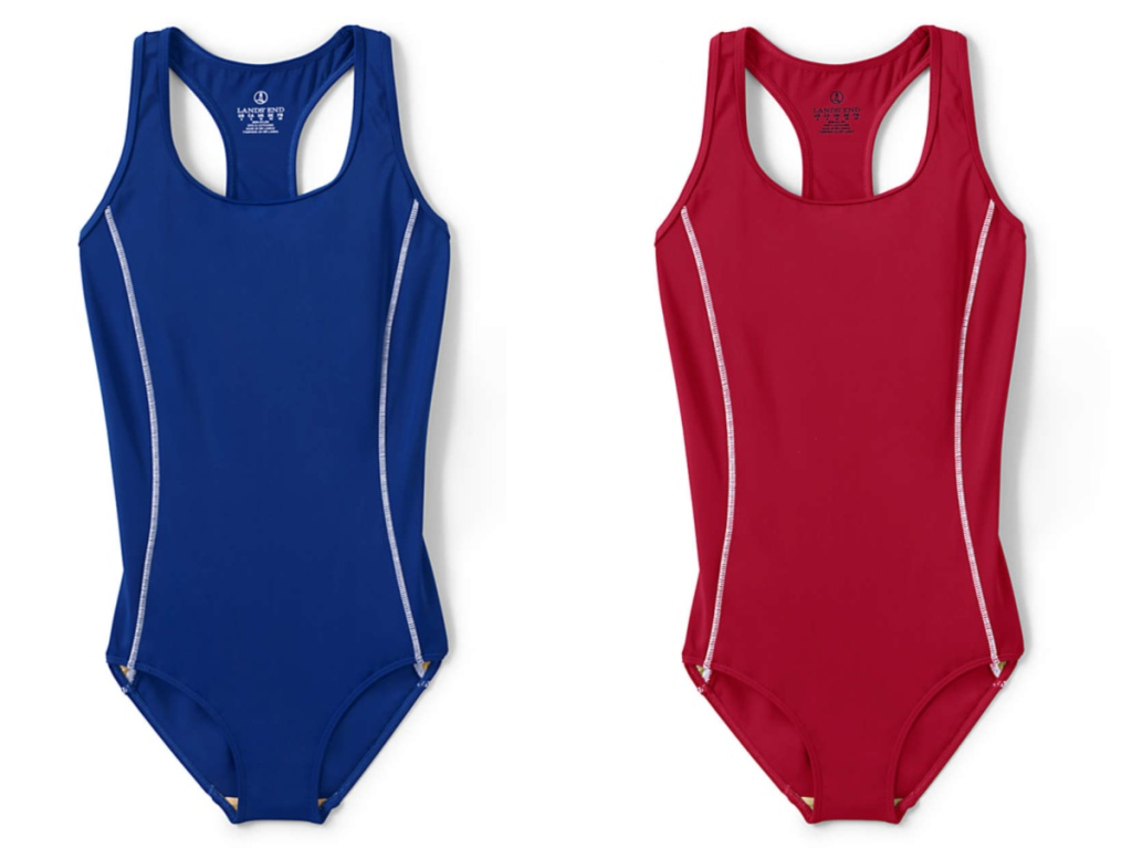 blue and red one piece womens swim suit