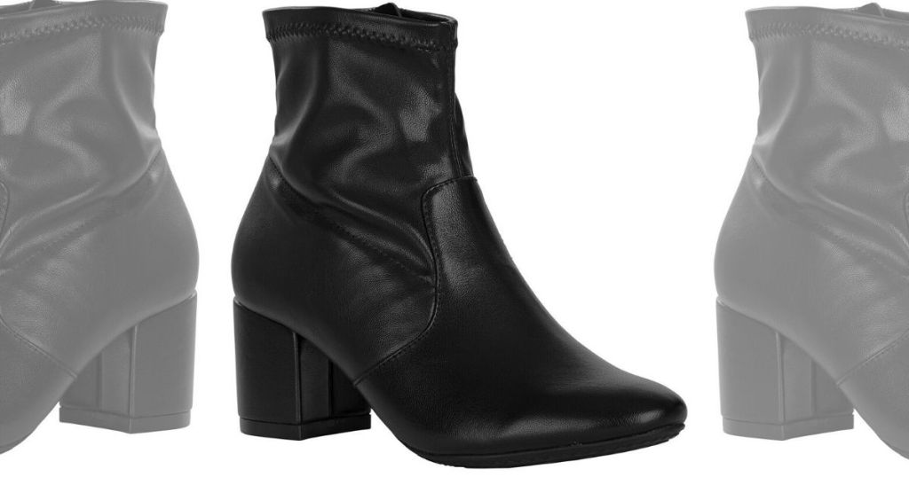 womens right foot black faux leather slip on boot