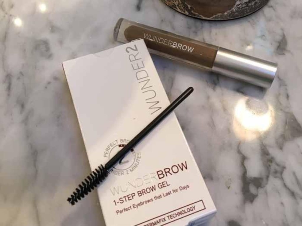 brow kit on marble counter