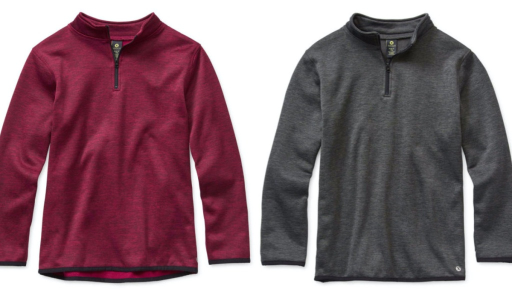 kids maroon pullover and grey pullover