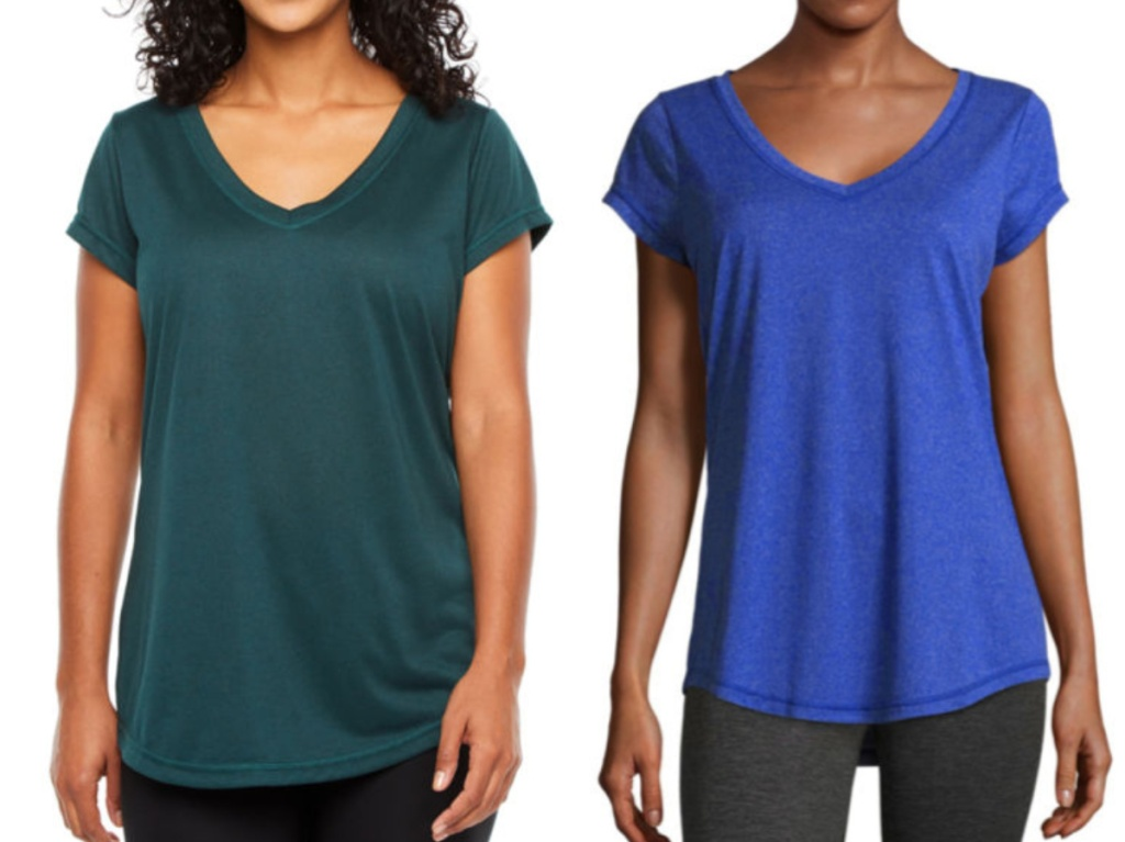 women in green and blue tee